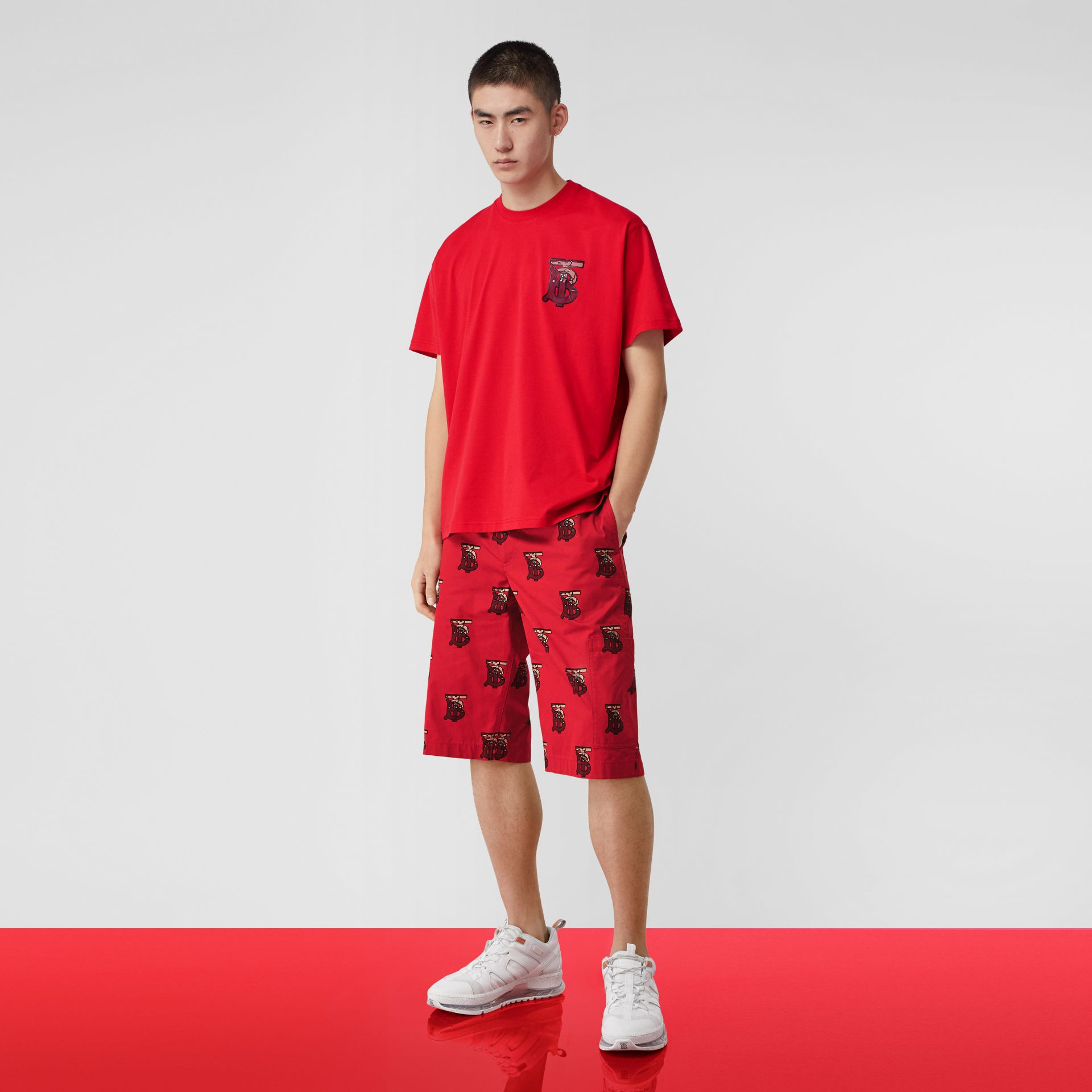 Monogram Motif Cotton Oversized T-shirt in Racing Red - Men | Burberry United Kingdom - gallery image 5
