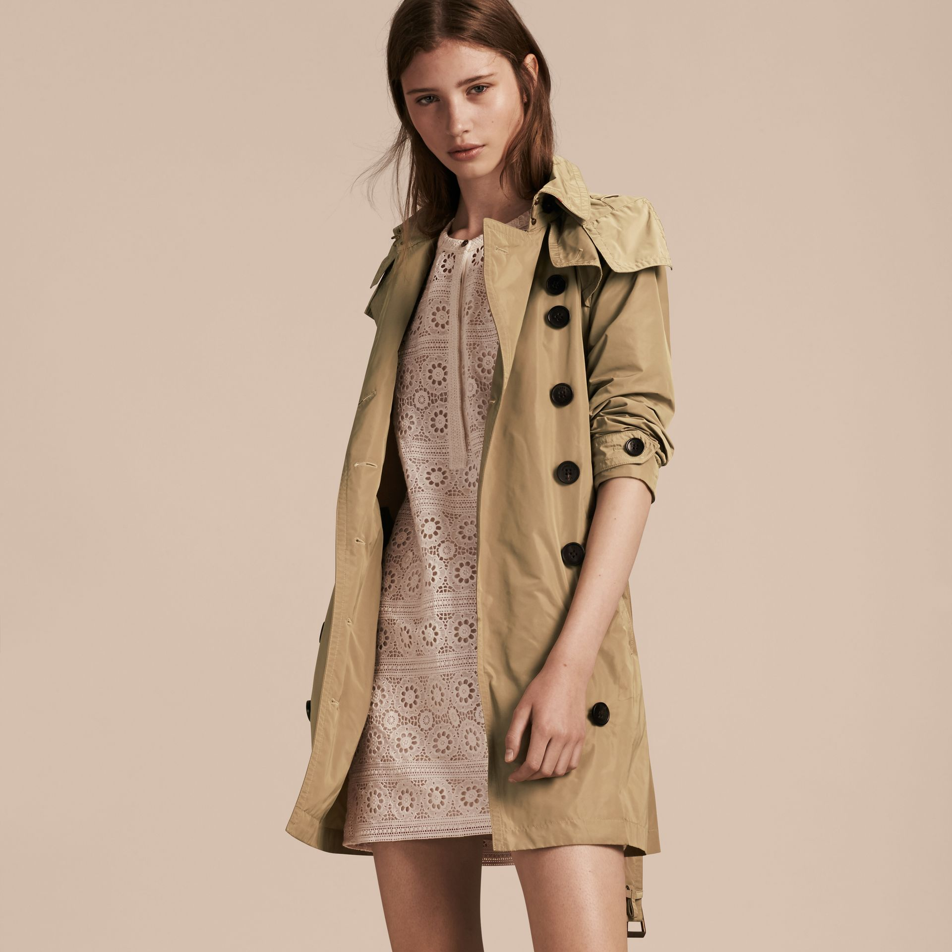 Taffeta Trench Coat with Detachable Hood in Sisal - gallery image 7