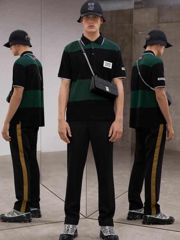 Logo Appliqué Striped Cotton Polo Shirt in Dark Pine Green - Men | Burberry - cell image 1