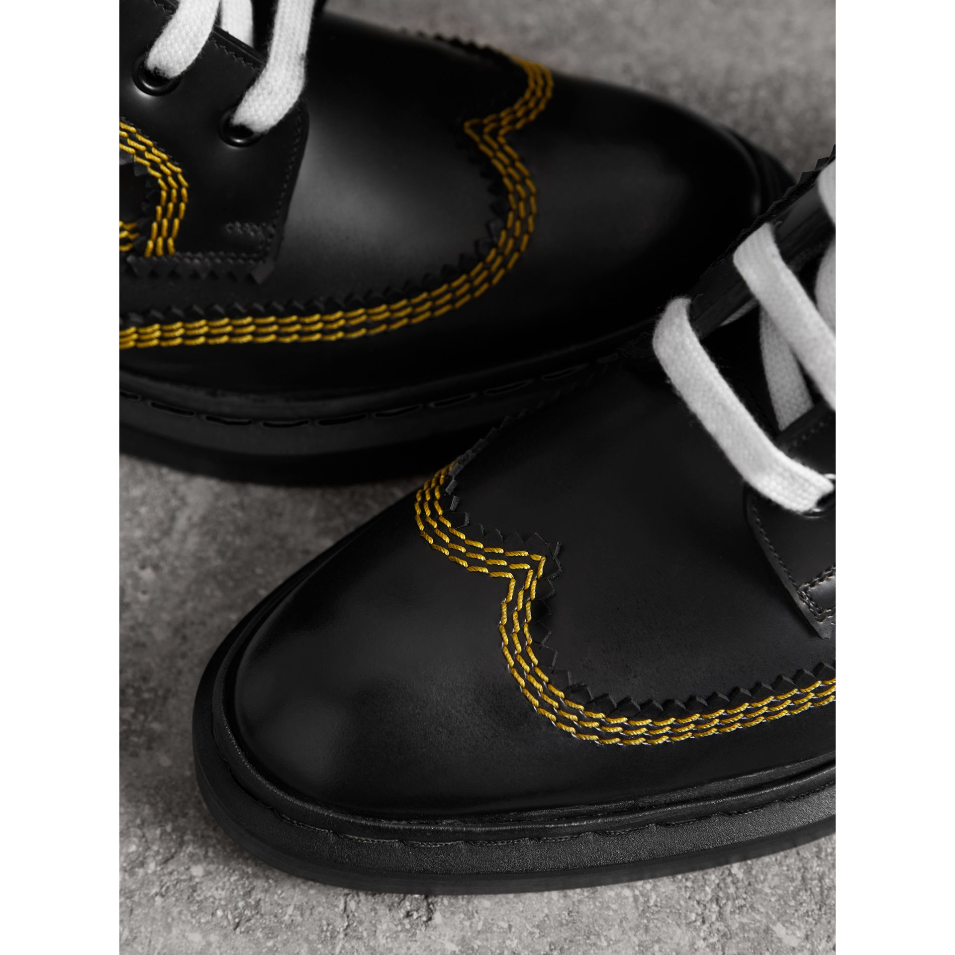 Topstitch Leather Lace-up Boots in Black - Women | Burberry - gallery image 1
