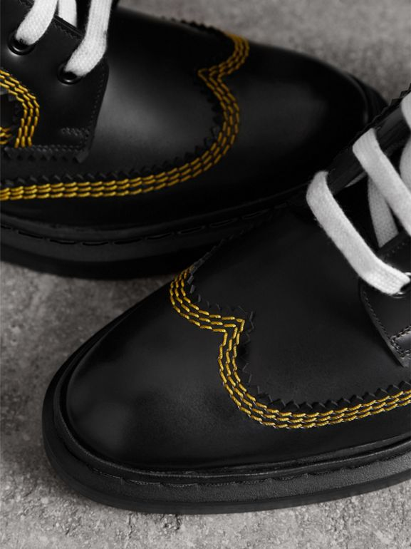 Topstitch Leather Lace-up Boots in Black - Women | Burberry United Kingdom - cell image 1