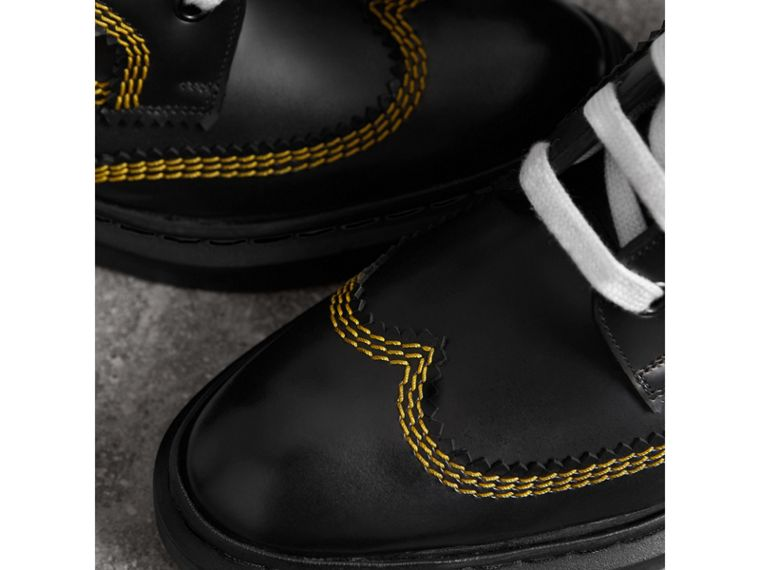 Topstitch Leather Lace-up Boots in Black - Women | Burberry - cell image 1