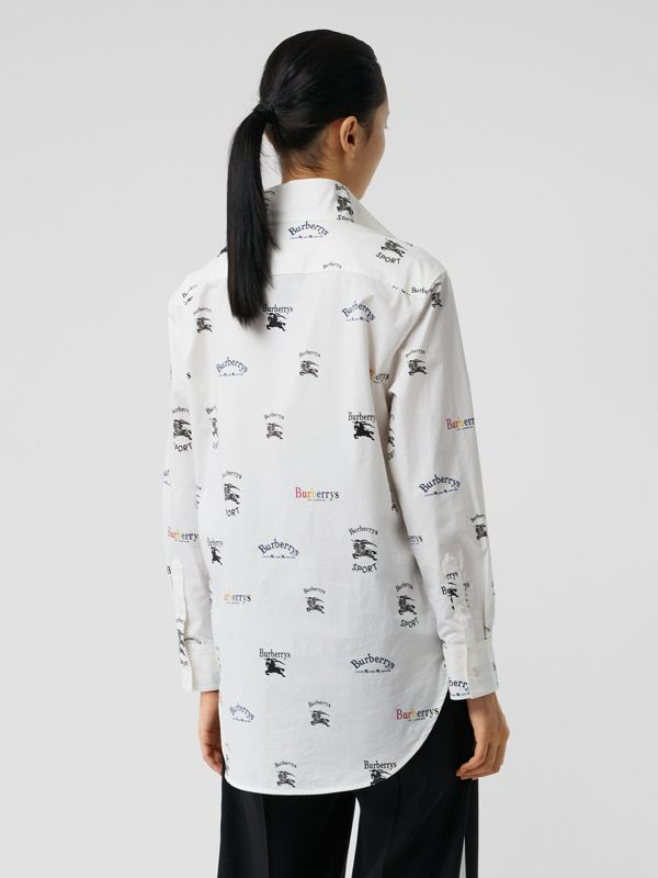 Triple Archive Logo Print Stretch Cotton Shirt in Multicolour - Women | Burberry Canada - cell image 2