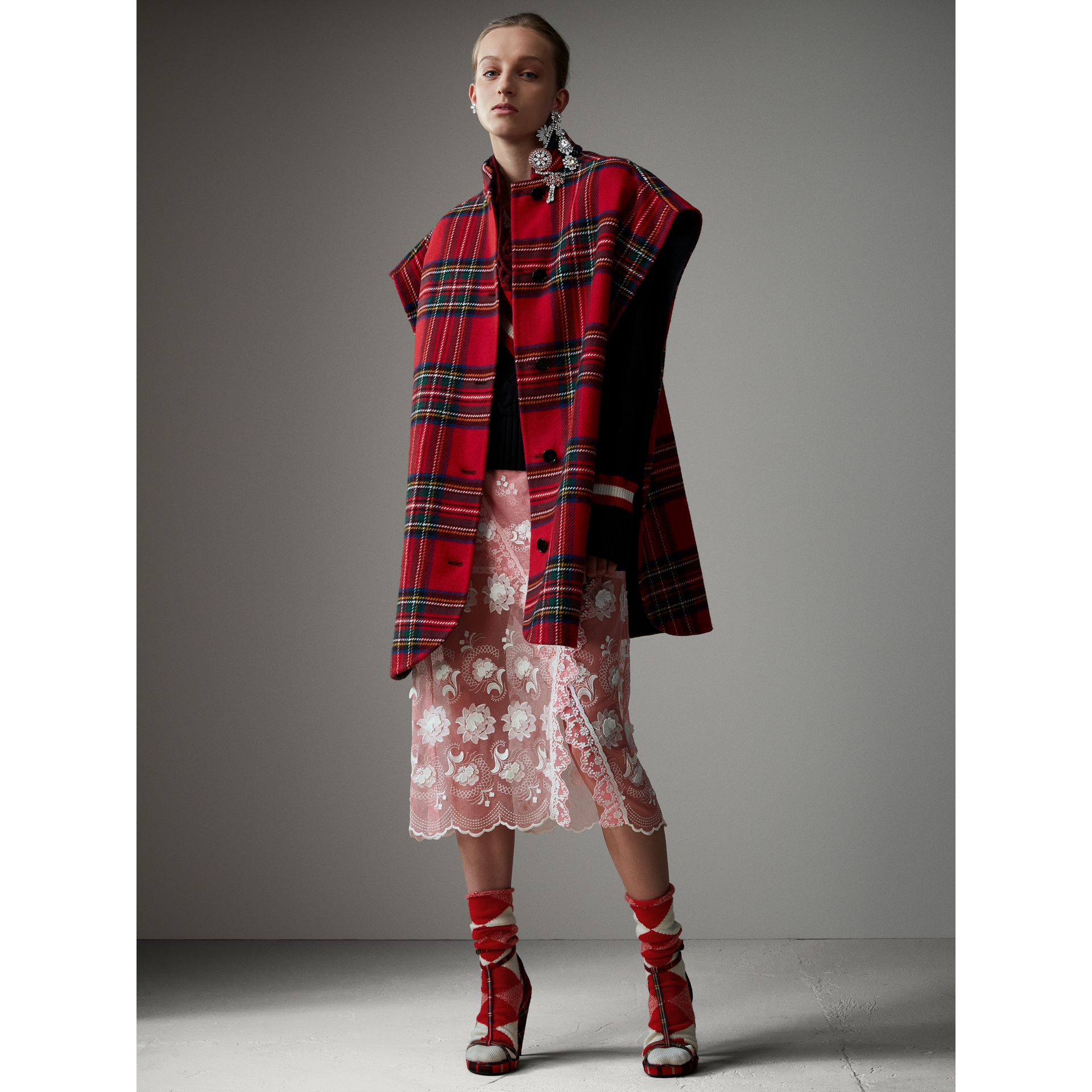 Reversible Tartan Wool Cashmere Poncho in Bright Red/dark Grey - Women | Burberry - gallery image 7