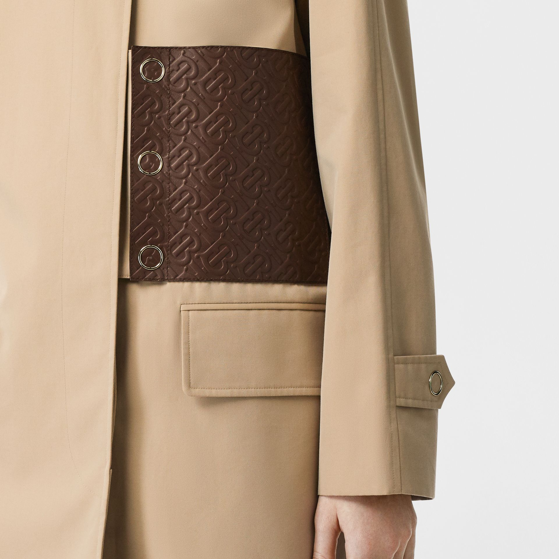 Monogram Leather Detail Cotton Gabardine Car Coat in Honey - Women | Burberry - gallery image 4