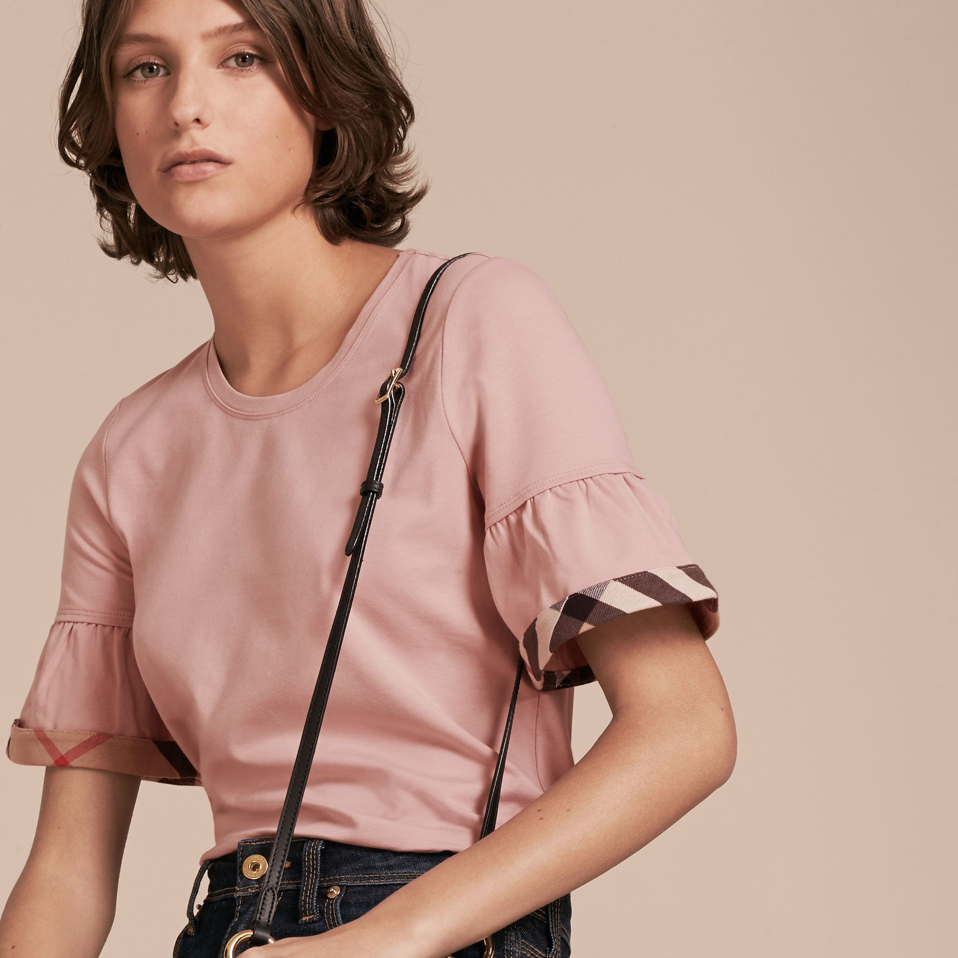 Stretch Cotton T-shirt with Check Trim Ruffles Ash Rose - gallery image 5