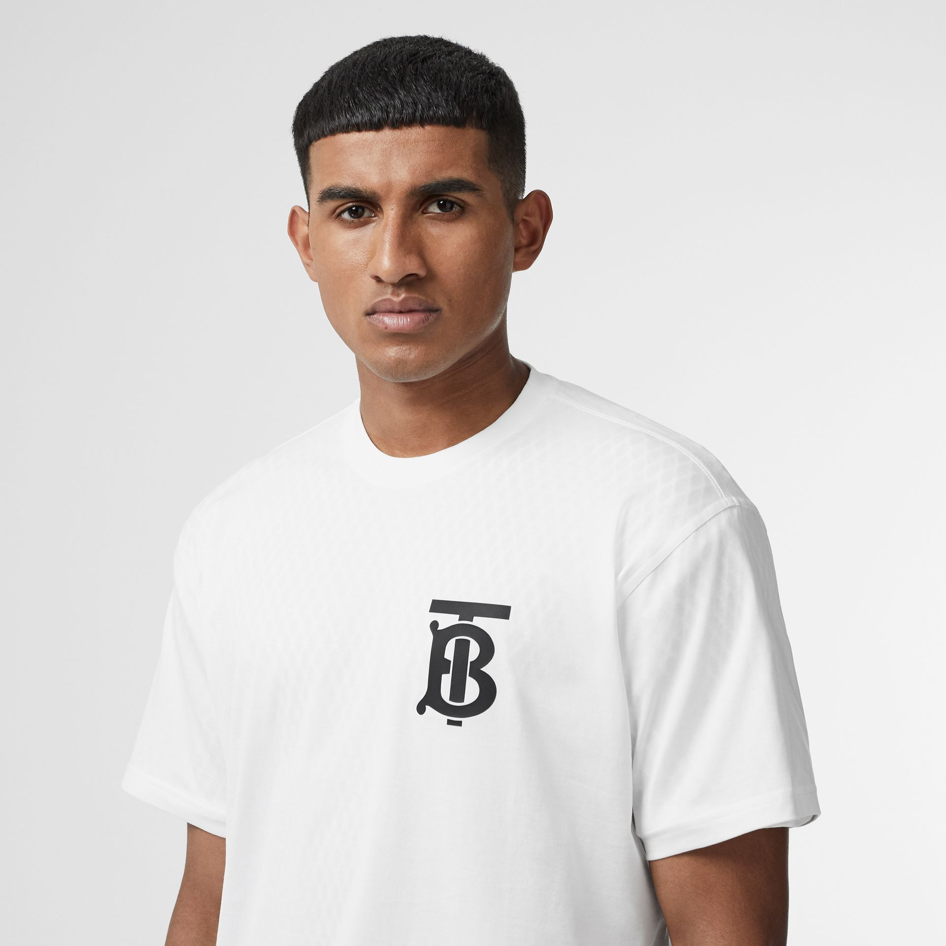 Monogram Motif Cotton Oversized T-shirt in White | Burberry - gallery image 1