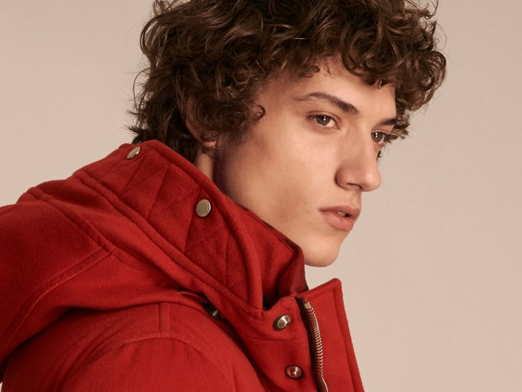 Down-filled Cashmere Jacket with Detachable Fur Trim in Parade Red - cell image 4