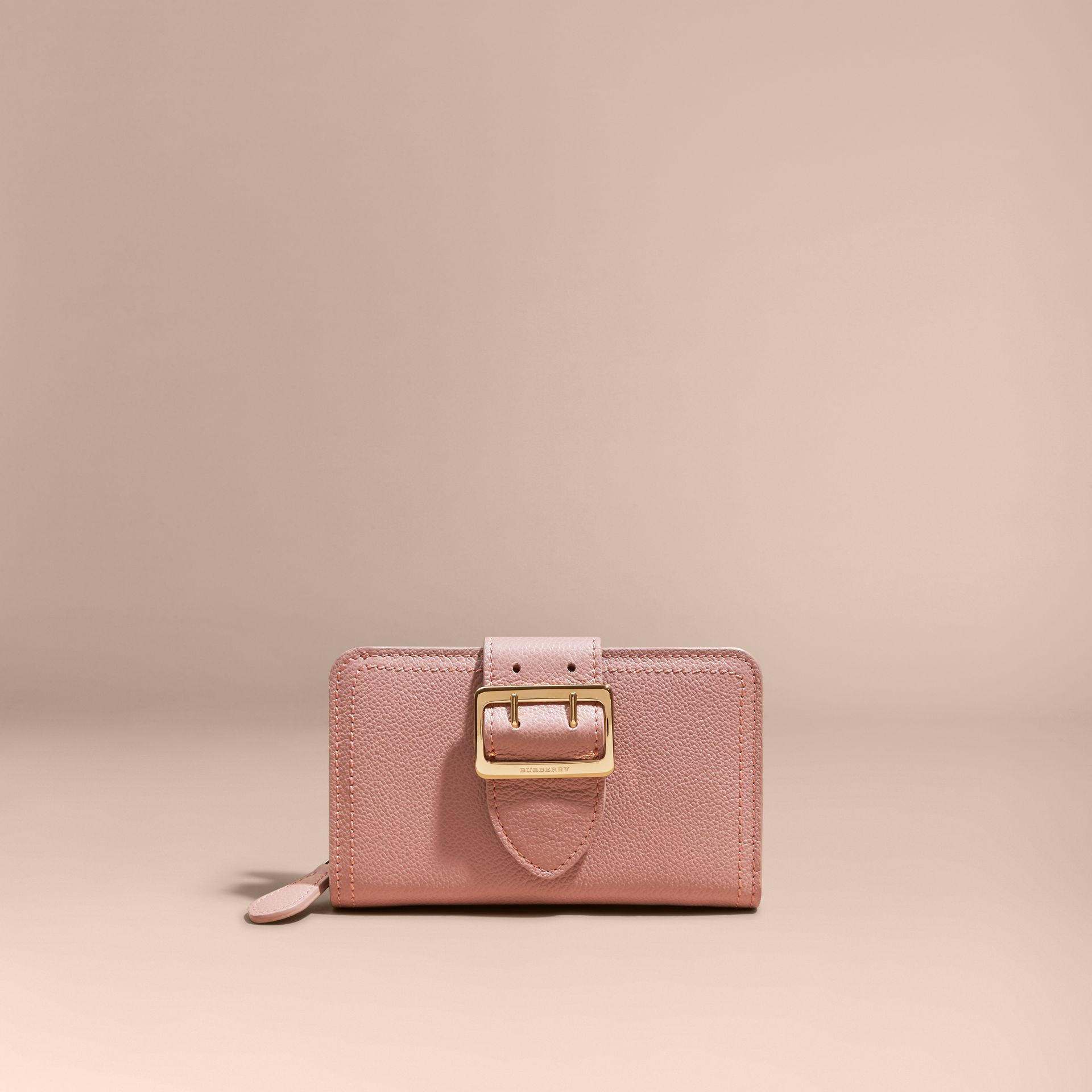 Dusty pink Buckle Detail Grainy Leather Wallet Dusty Pink - gallery image 7