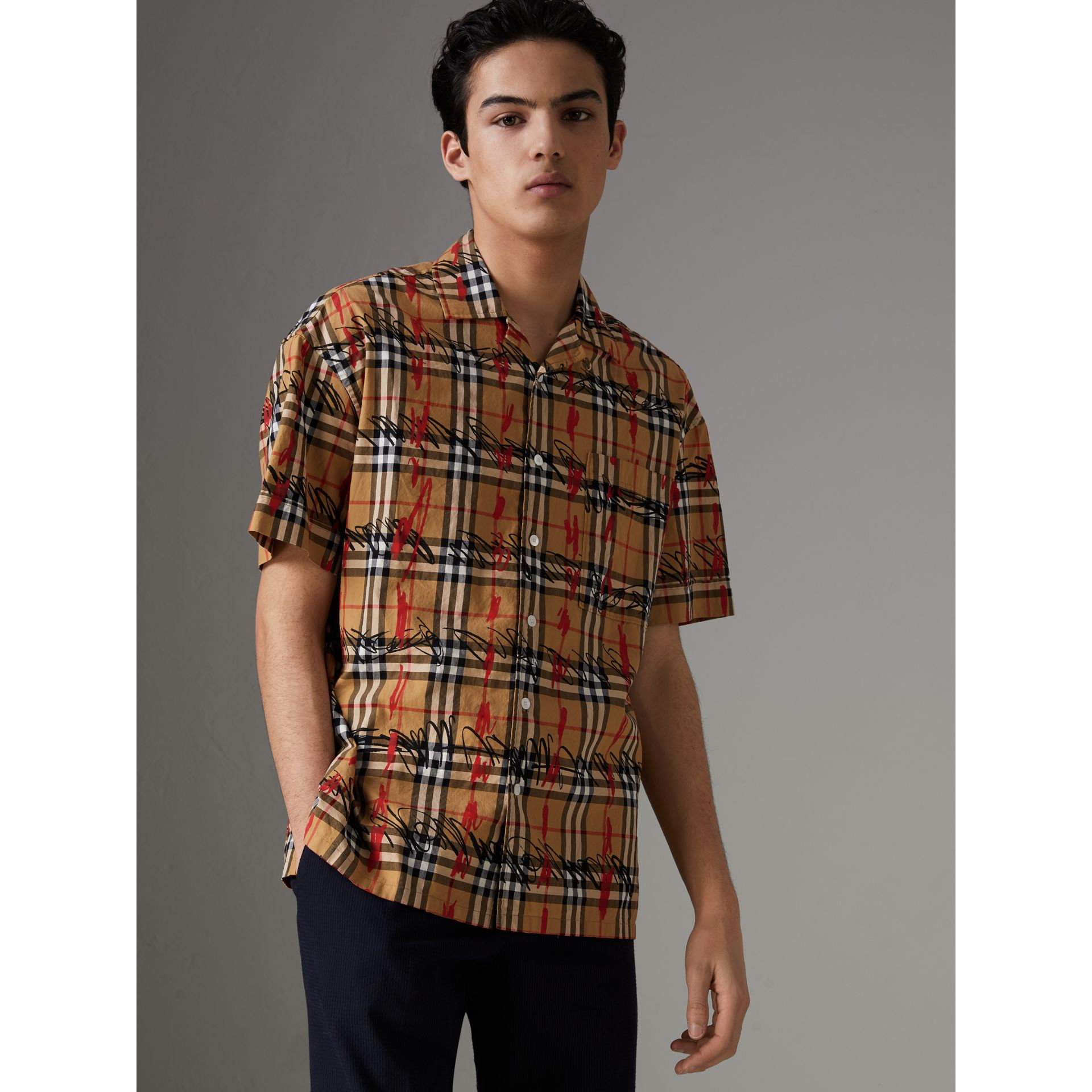 Short-sleeve Scribble Check Cotton Shirt in Antique Yellow - Men | Burberry United Kingdom - gallery image 4