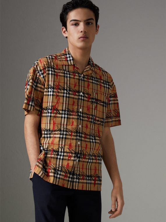 Short-sleeve Scribble Check Cotton Shirt in Antique Yellow