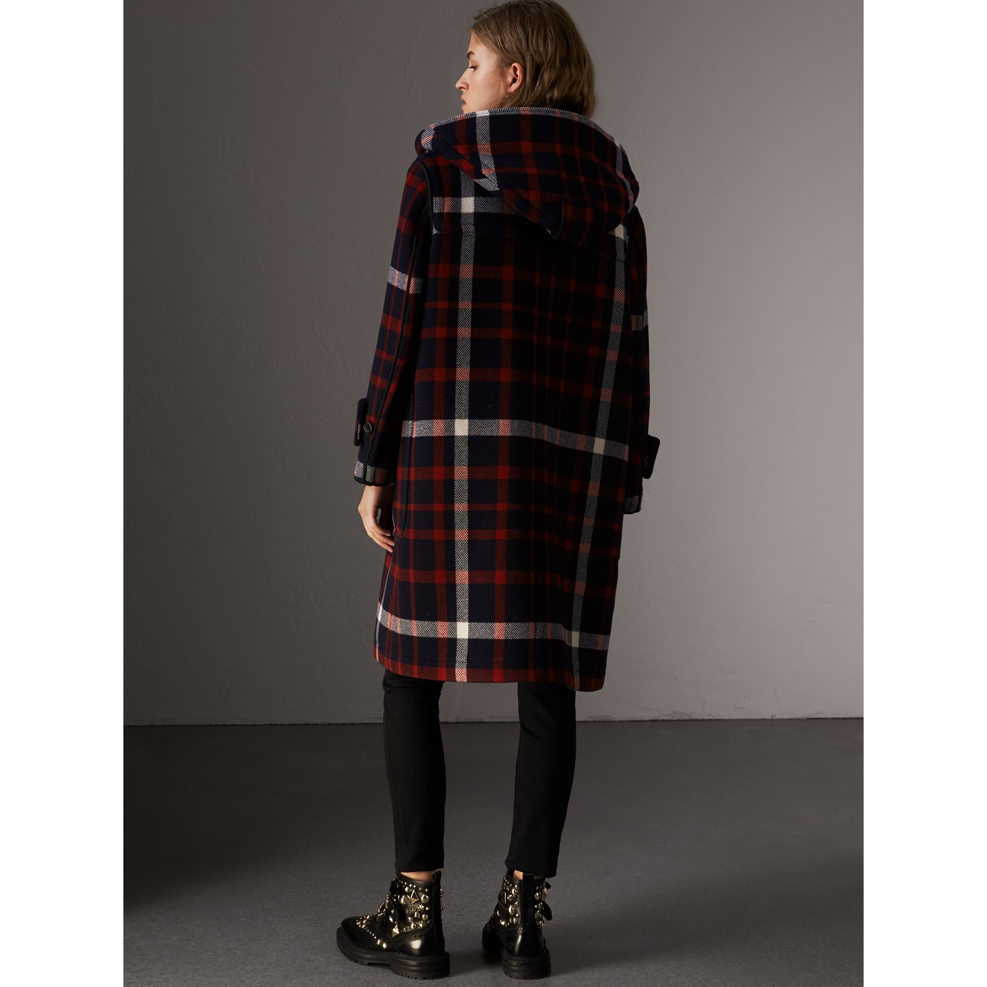 Check Wool Duffle Coat with Detachable Warmer in Navy/black - Women | Burberry - gallery image 2