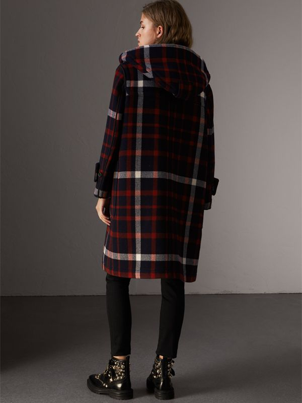 Check Wool Duffle Coat with Detachable Warmer in Navy/black - Women | Burberry - cell image 2