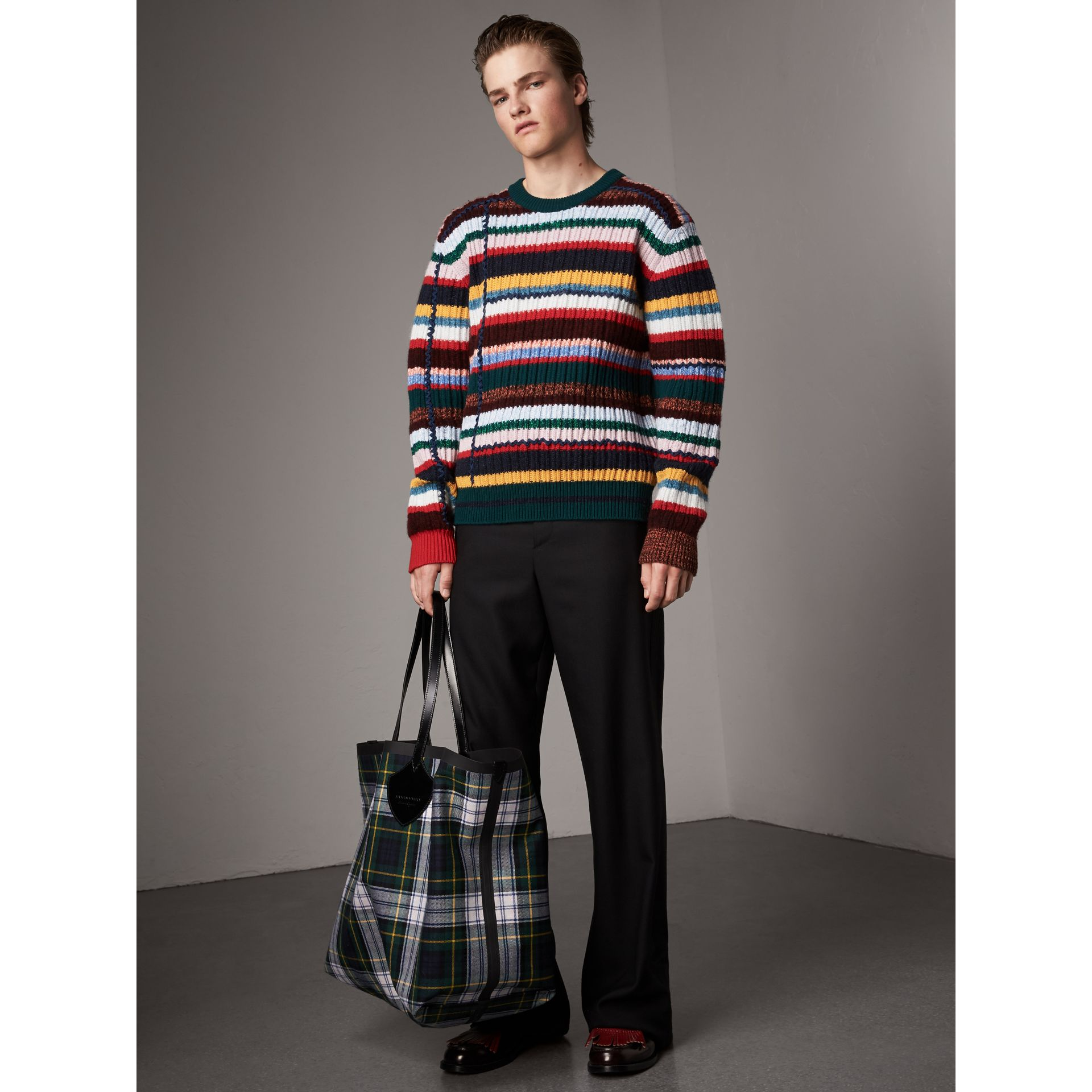 Striped Wool Cashmere Cotton Sweater in Dark Racing Green - Men | Burberry - gallery image 7