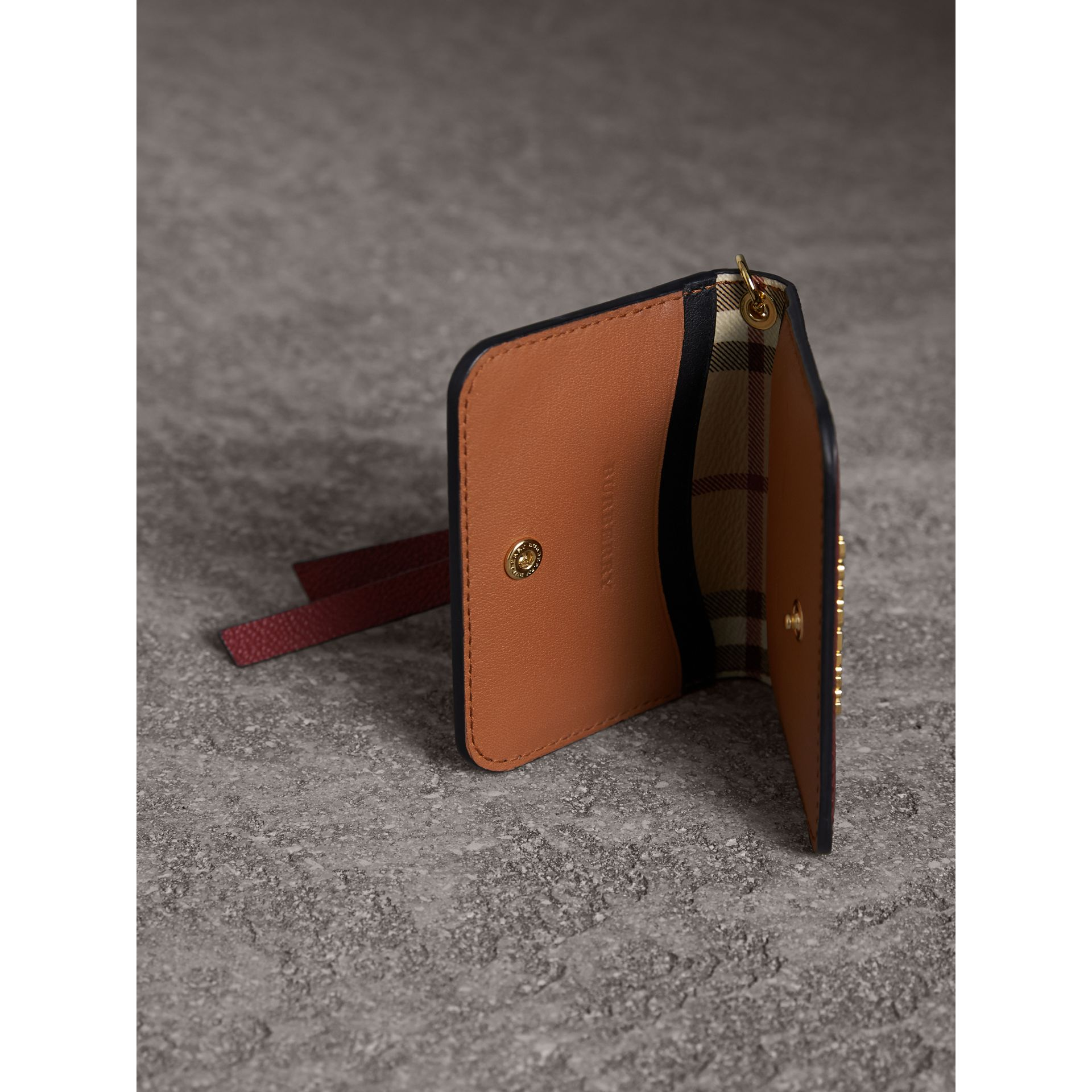 Leather and Haymarket Check ID Card Case Charm in Burgundy/multicolour - Women | Burberry - gallery image 3
