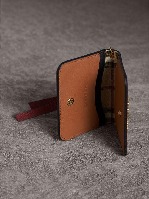Leather and Haymarket Check ID Card Case Charm in Burgundy/multicolour - Women | Burberry United Kingdom - cell image 3