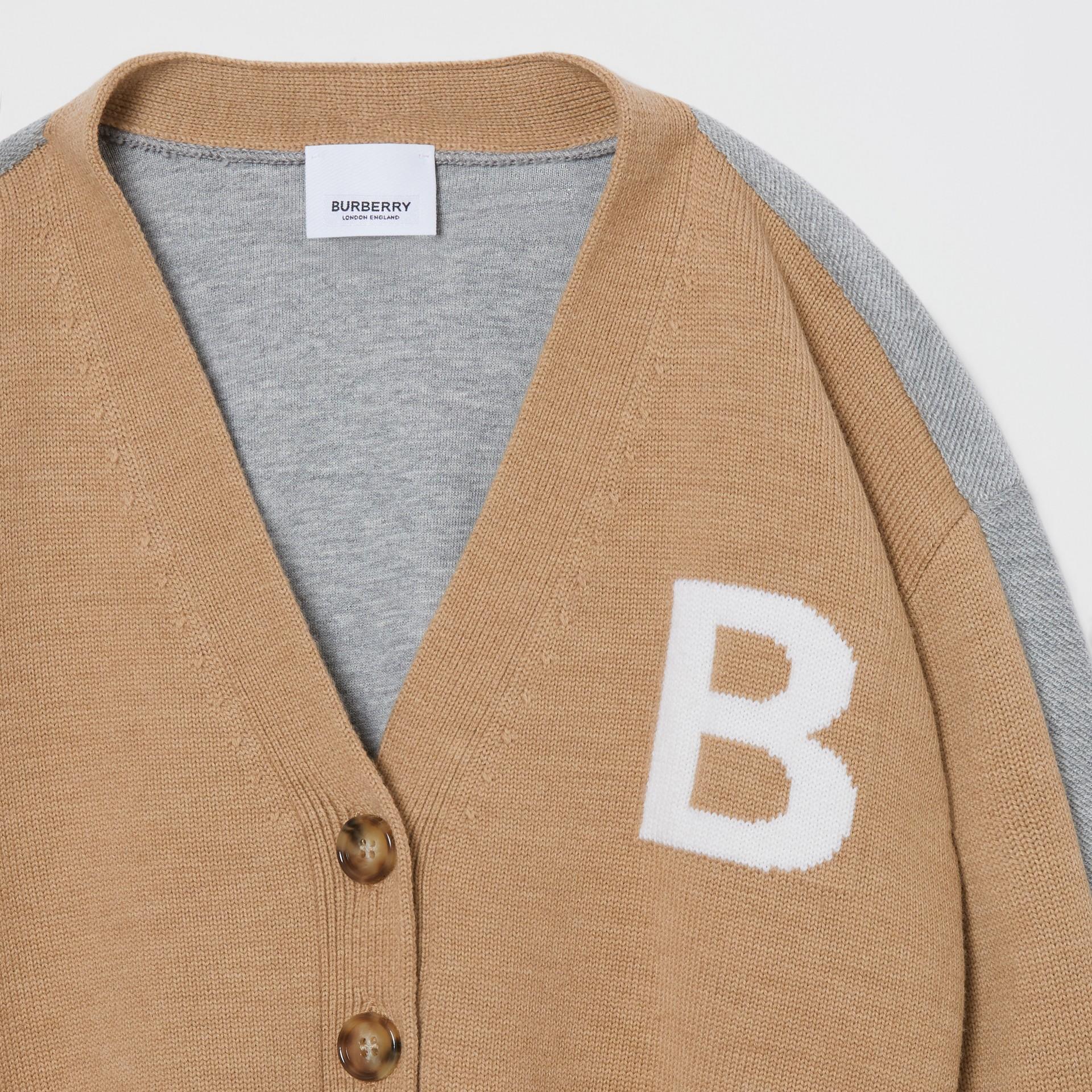 B Motif Merino Wool Jacquard Cardigan in Camel | Burberry - gallery image 1