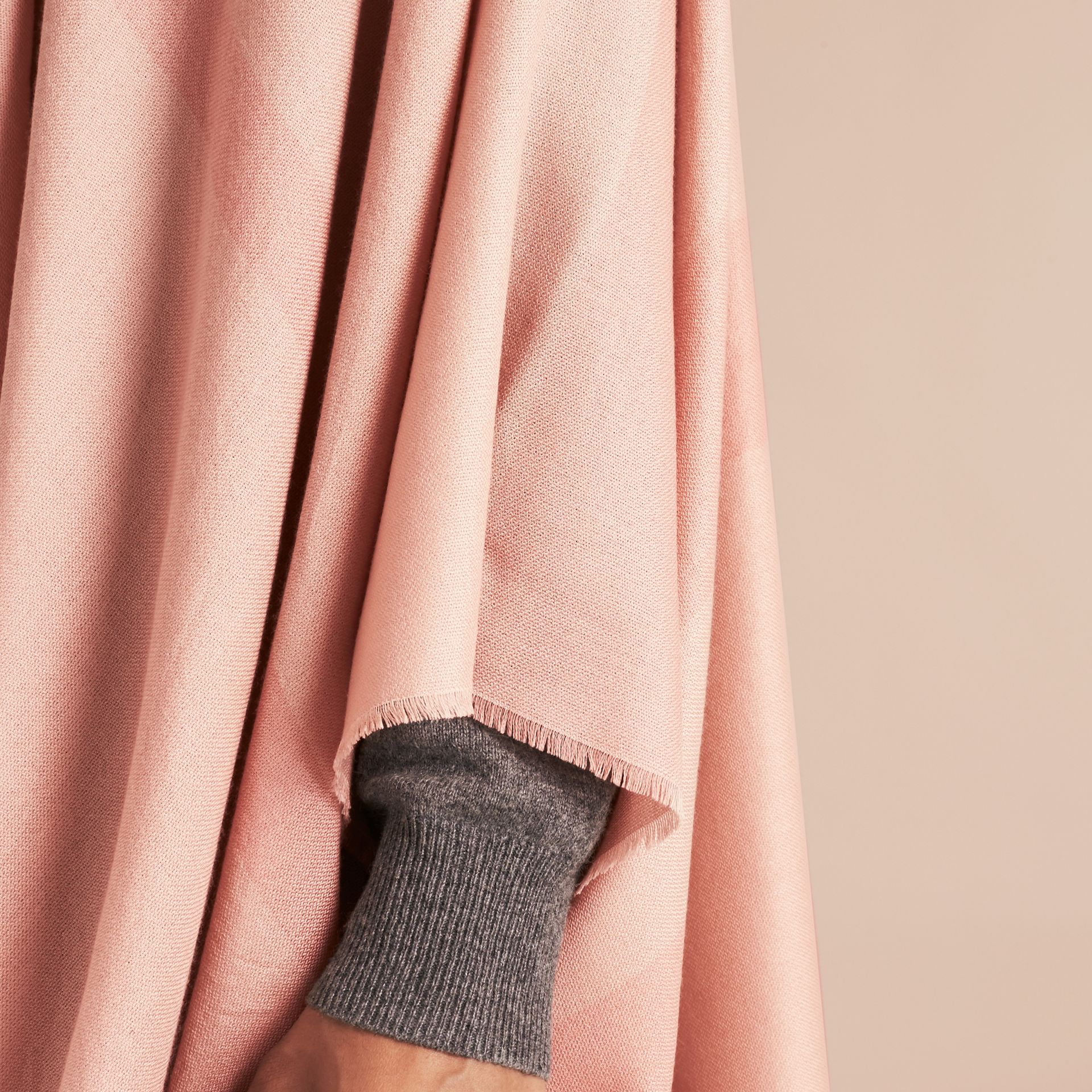 Ash rose Lightweight Check Cashmere Poncho Rose - gallery image 5