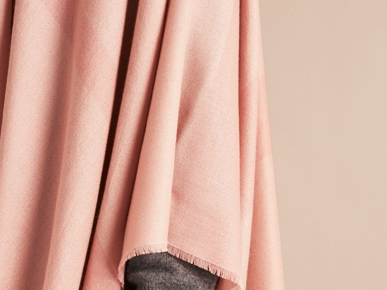 Lightweight Check Cashmere Poncho in Ash Rose - cell image 4