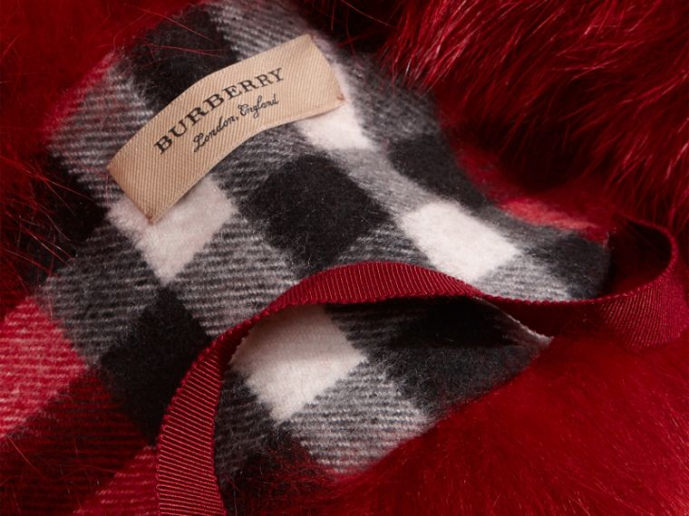 Parade red check Fox Fur Collar with Check Cashmere Lining Parade Red - cell image 1