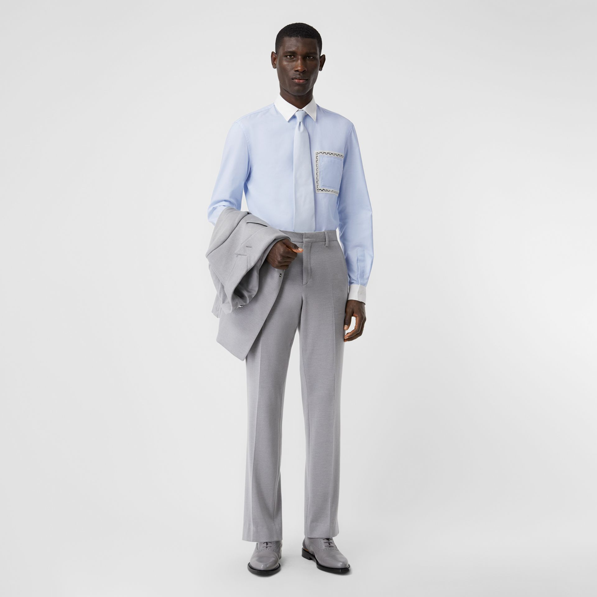 Classic Fit Lace Detail Cotton Oxford Shirt in Pale Blue | Burberry United Kingdom - gallery image 4