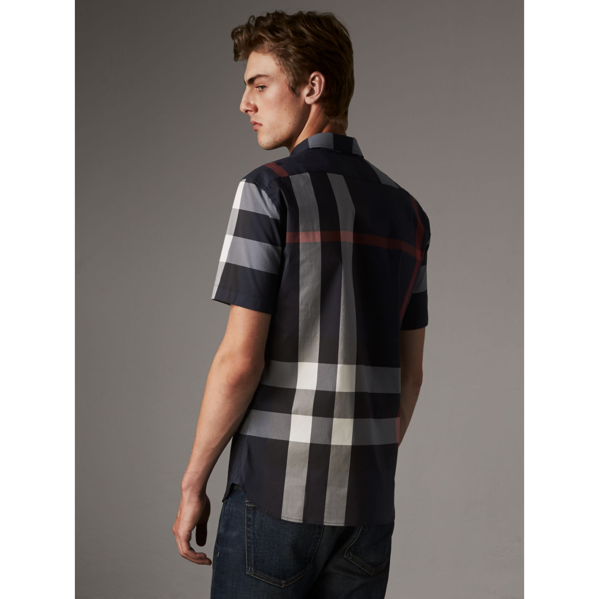 Short-sleeve Check Stretch Cotton Blend Shirt in Navy - Men | Burberry Hong Kong - gallery image 3
