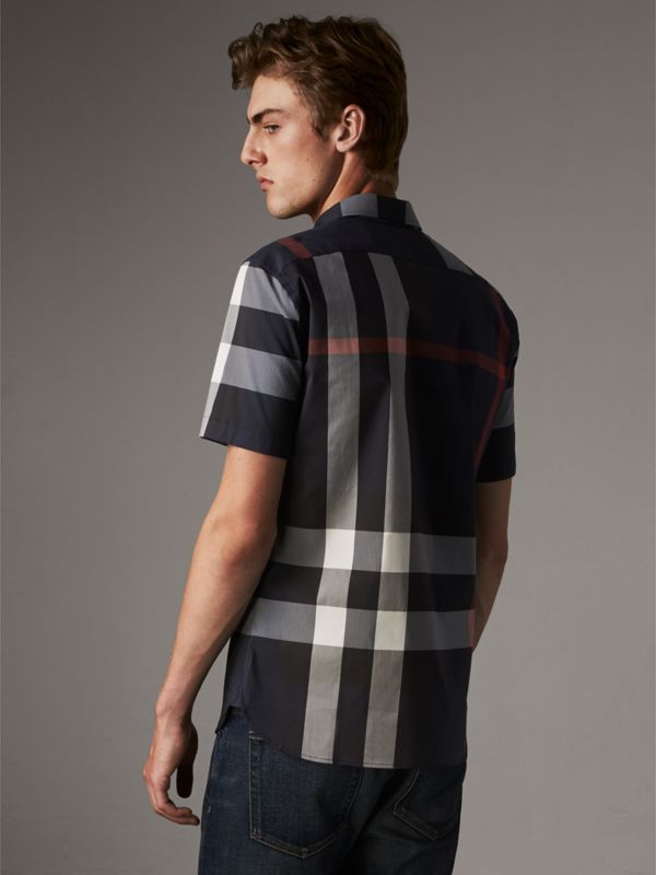 Short-sleeve Check Stretch Cotton Blend Shirt in Navy - Men | Burberry Australia - cell image 2