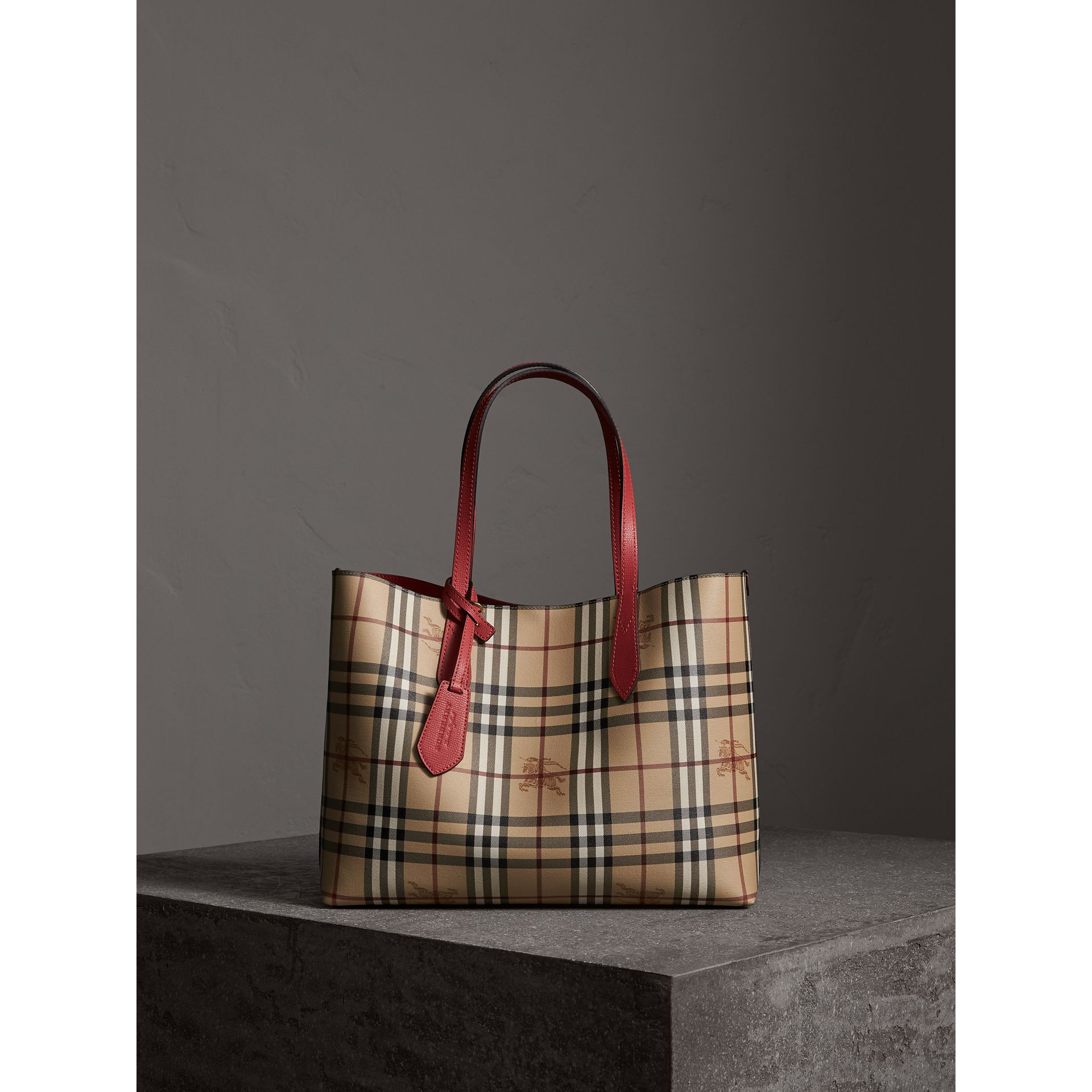 The Medium Reversible Tote in Haymarket Check and Leather in Coral Red - Women | Burberry - gallery image 6