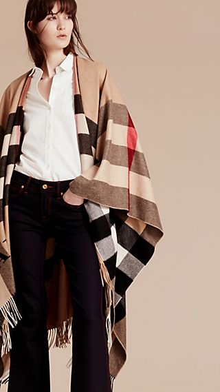 Kaschmirponcho mit Check-Muster