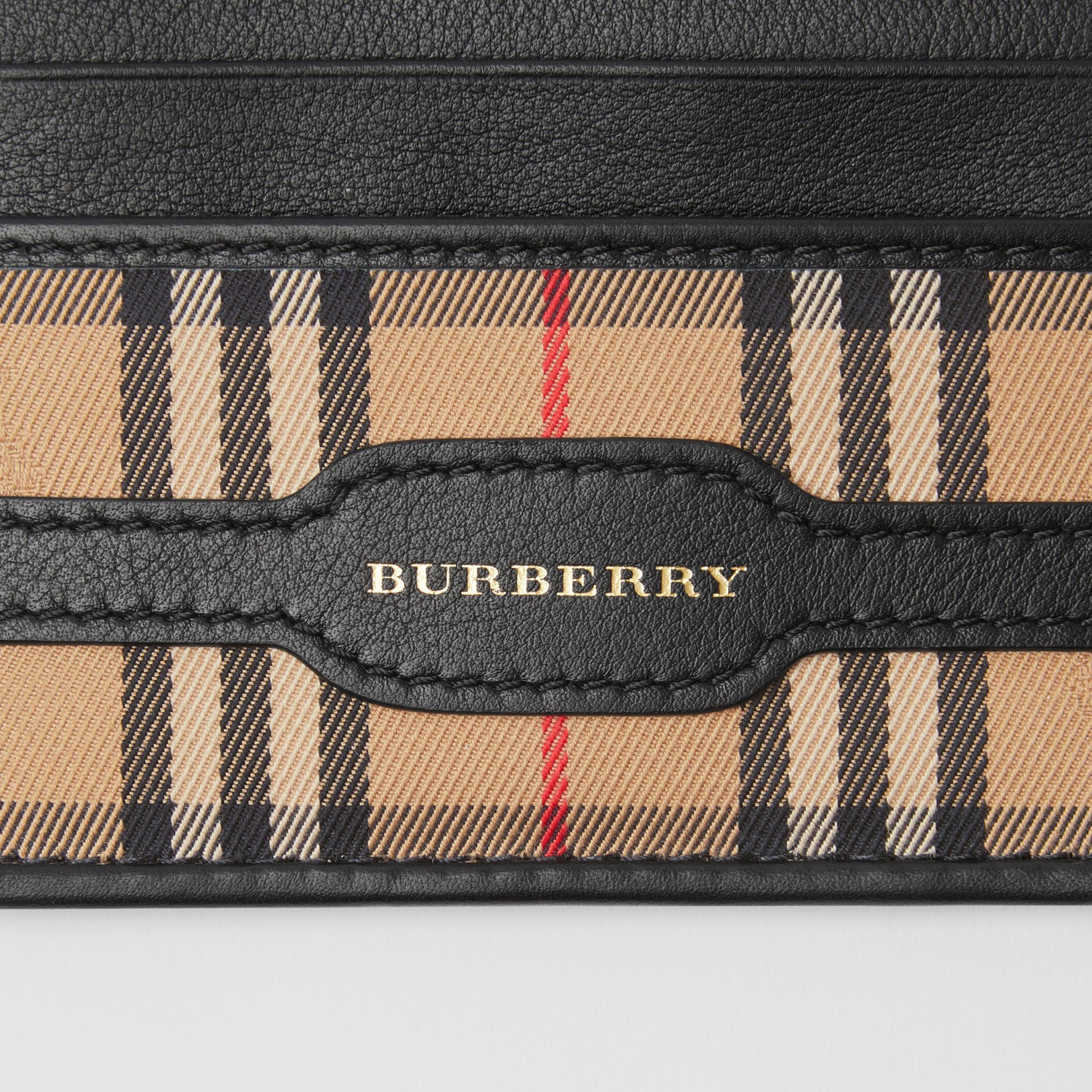 1983 Check and Leather Card Case in Black | Burberry - gallery image 1