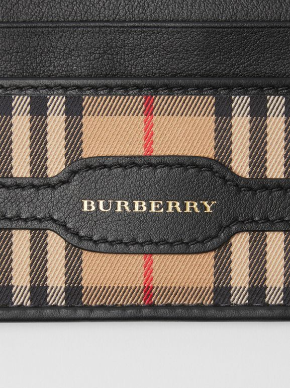 1983 Check and Leather Card Case in Black - Men | Burberry - cell image 1