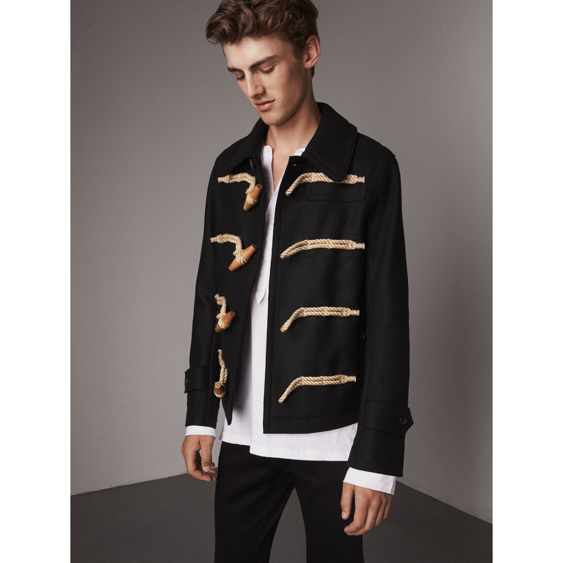 Wool Blend Duffle Jacket in Black - Men | Burberry - gallery image 0