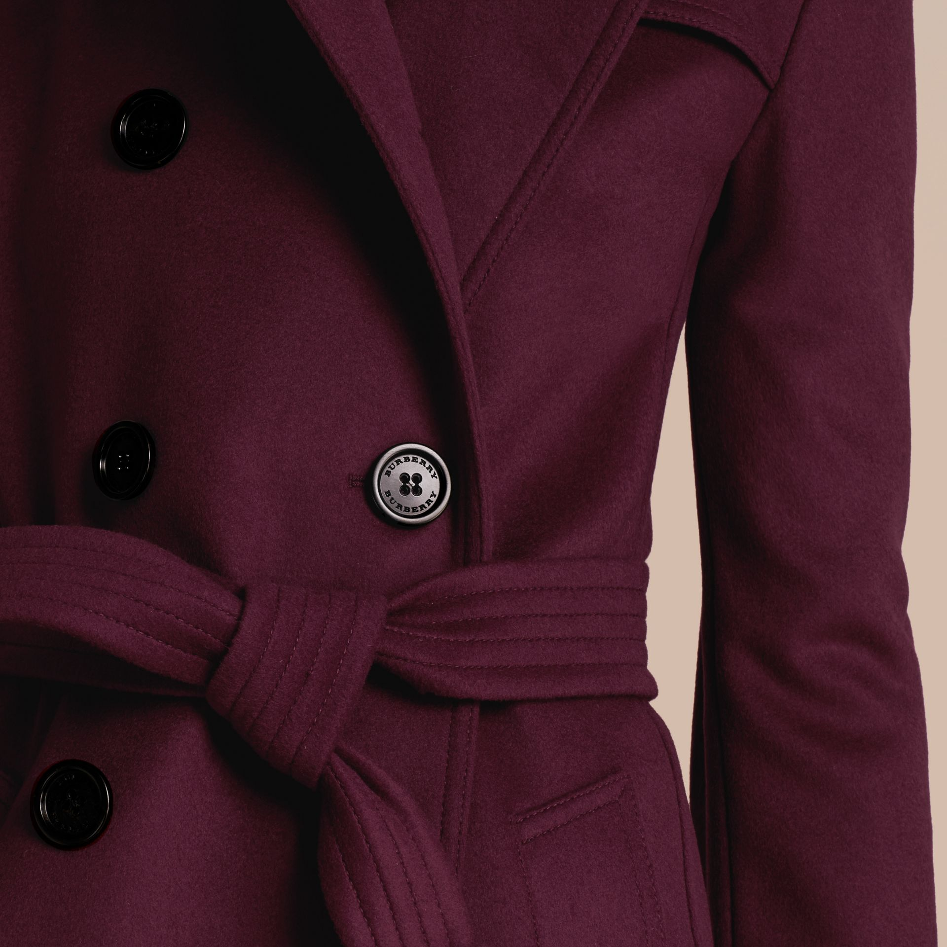 Cherry pink Wool Cashmere Trench Coat - gallery image 6