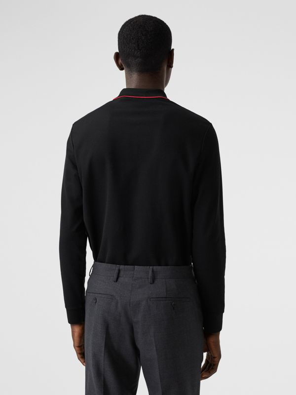 Long-sleeve Monogram Motif Cotton Piqué Polo Shirt in Black - Men | Burberry - cell image 2