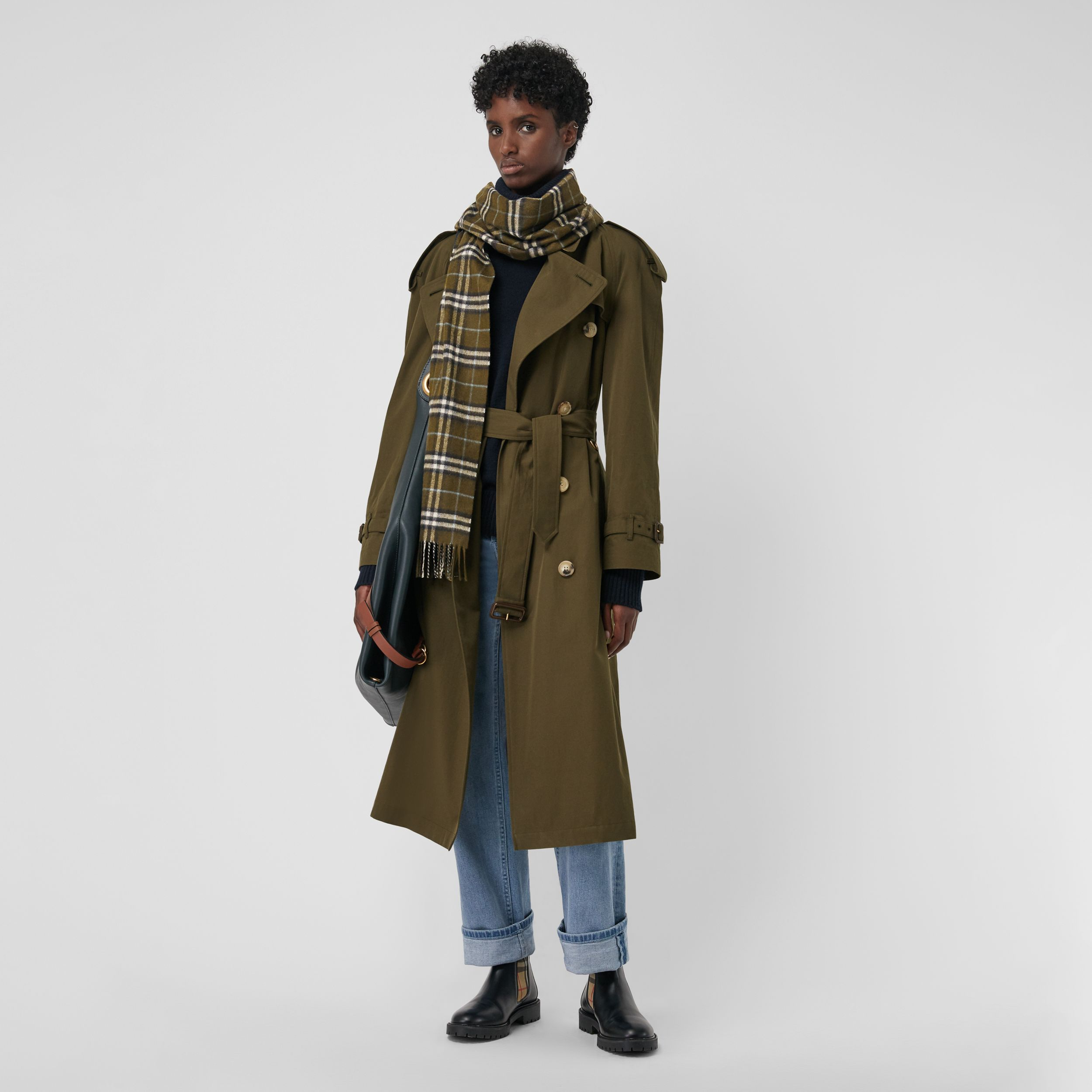 The Classic Vintage Check Cashmere Scarf in Military Brown - Men | Burberry - 3
