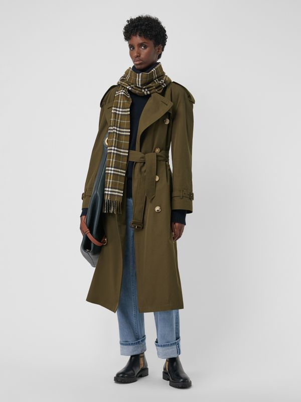 The Classic Vintage Check Cashmere Scarf in Military Brown | Burberry - cell image 2
