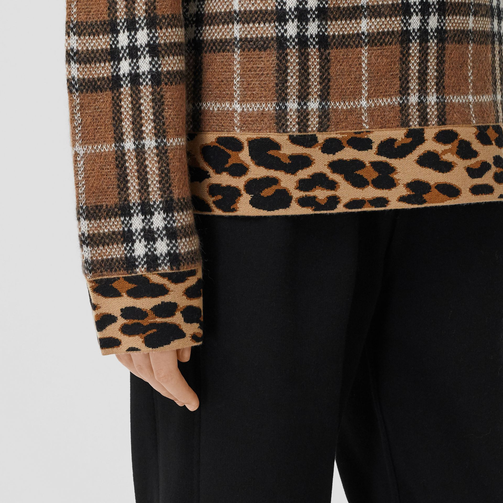 Leopard Detail Vintage Check Cashmere Blend Sweater in Archive Beige - Women | Burberry - gallery image 4