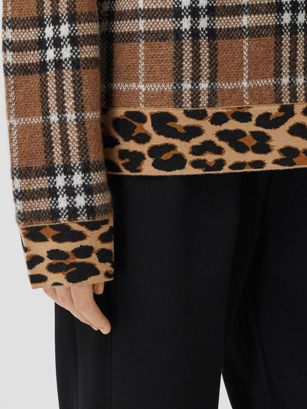 Leopard Detail Vintage Check Cashmere Blend Sweater in Archive Beige - Women | Burberry - cell image 3