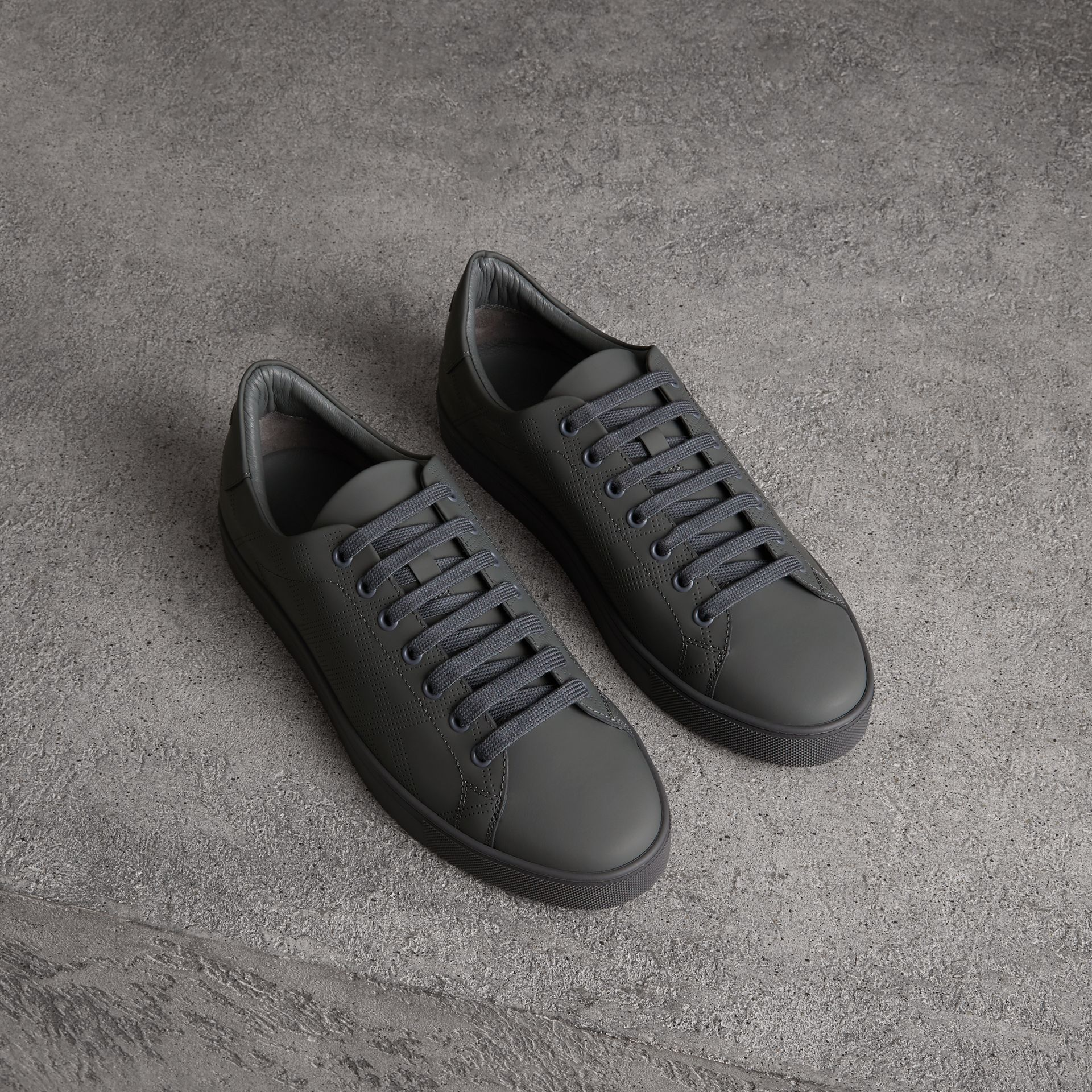 Perforated Check Leather Sneakers in Steel Grey - Men | Burberry - gallery image 0