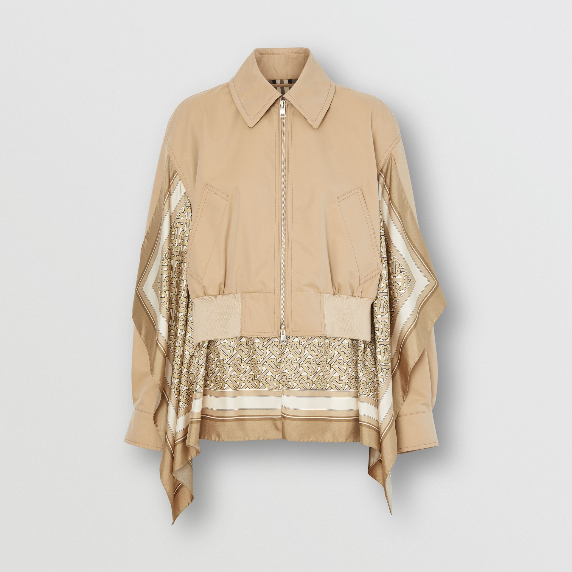 Monogram Print Silk Detail Cotton Gabardine Jacket in Pale Honey - Women | Burberry - gallery image 3