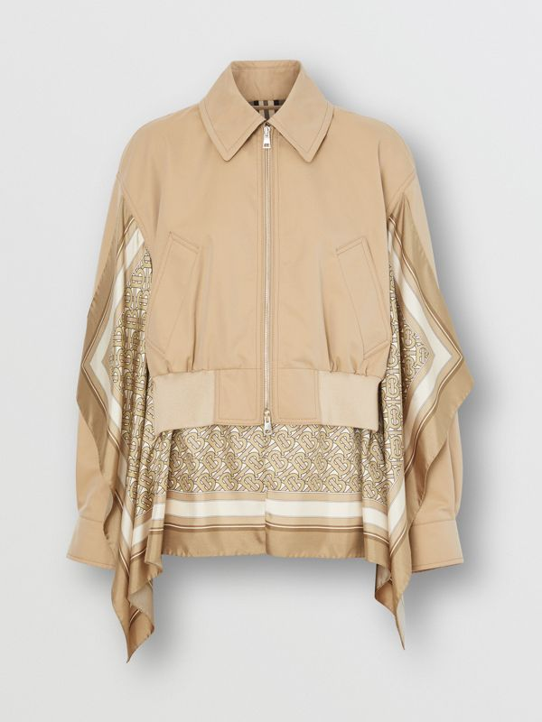 Monogram Print Silk Detail Cotton Gabardine Jacket in Pale Honey - Women | Burberry - cell image 3