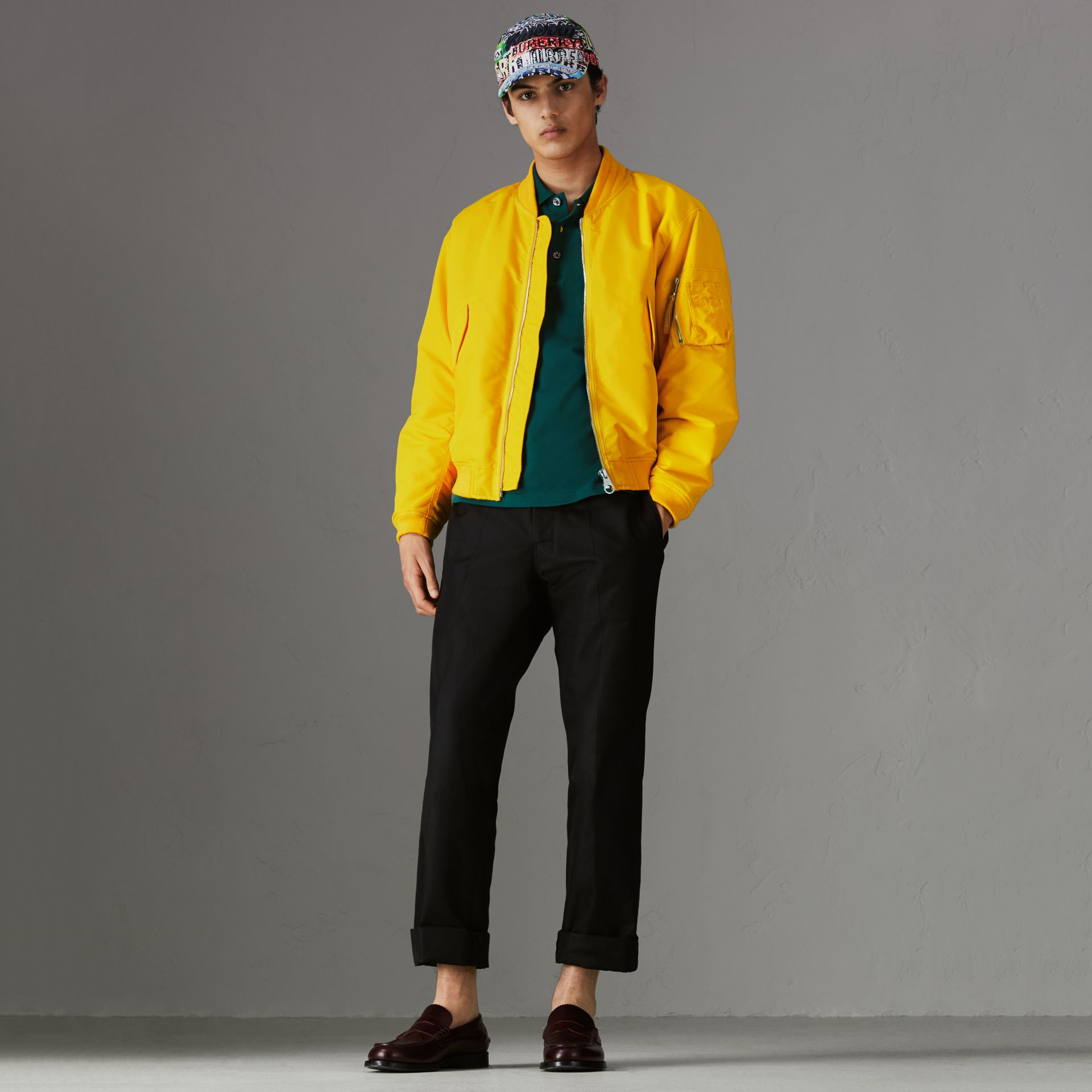 Nylon Bomber Jacket in Bright Yellow - Men | Burberry - gallery image 0