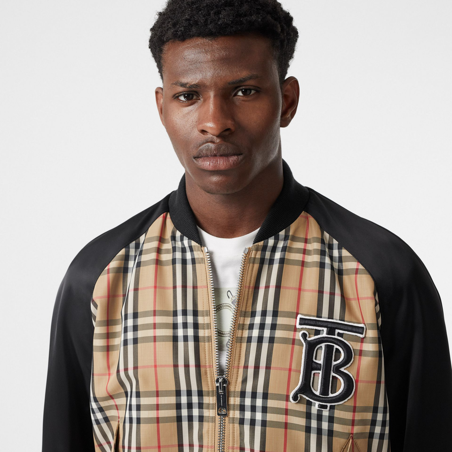 Monogram Motif Vintage Check Nylon Bomber Jacket in Archive Beige - Men | Burberry - gallery image 4