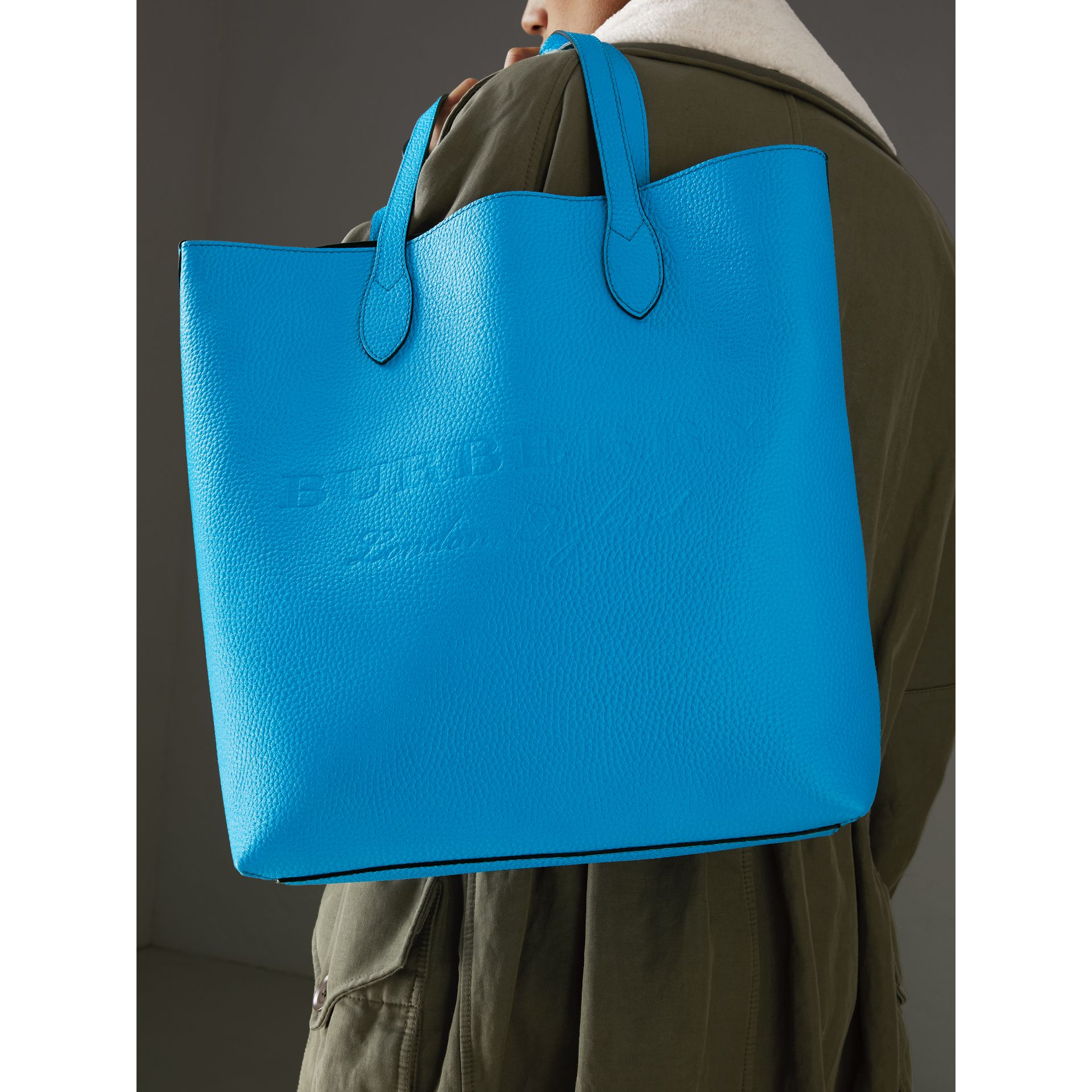 Embossed Leather Tote in Neon Blue | Burberry United Kingdom - gallery image 6