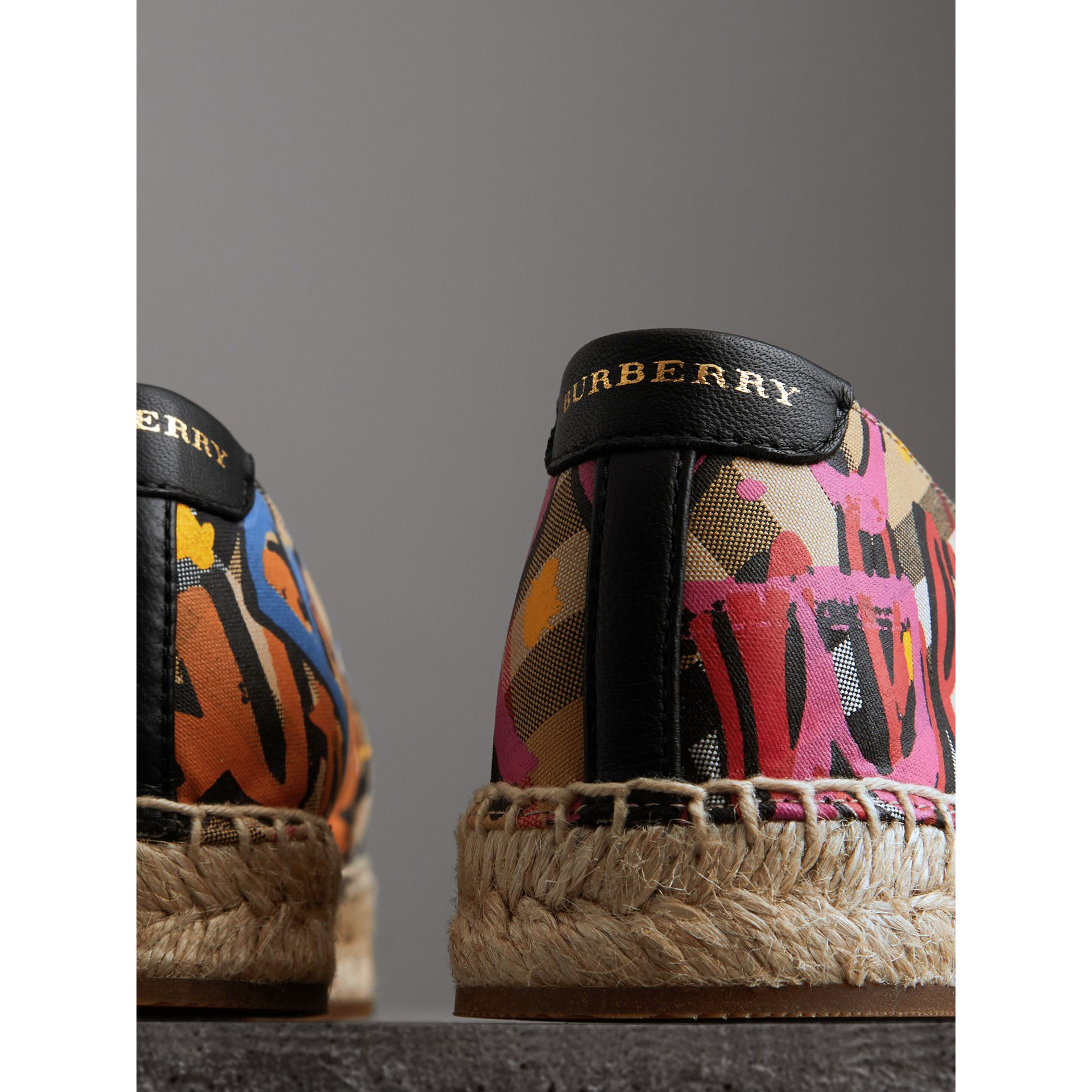 Graffiti Print Vintage Check Espadrilles in Antique Yellow - Women | Burberry Hong Kong - gallery image 3