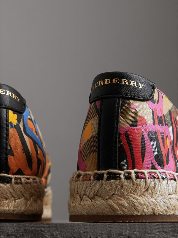 Graffiti Print Vintage Check Espadrilles in Antique Yellow - Women | Burberry Hong Kong - cell image 3