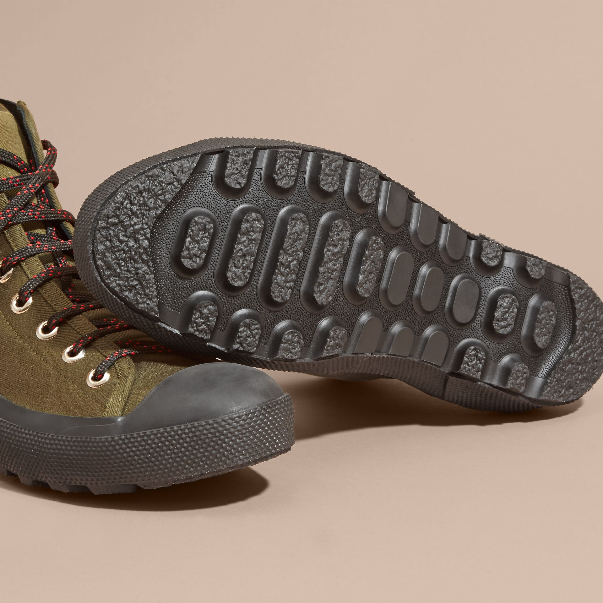 Khaki melange Technical Cotton and Vulcanised Rubber Boots - gallery image 5