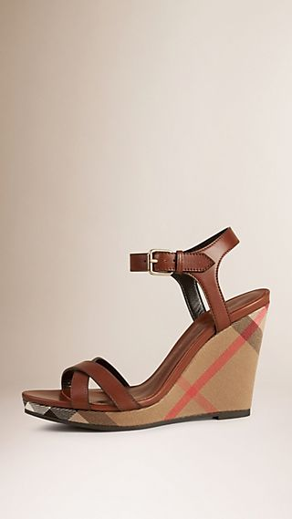 House Check Leather Platform Wedges