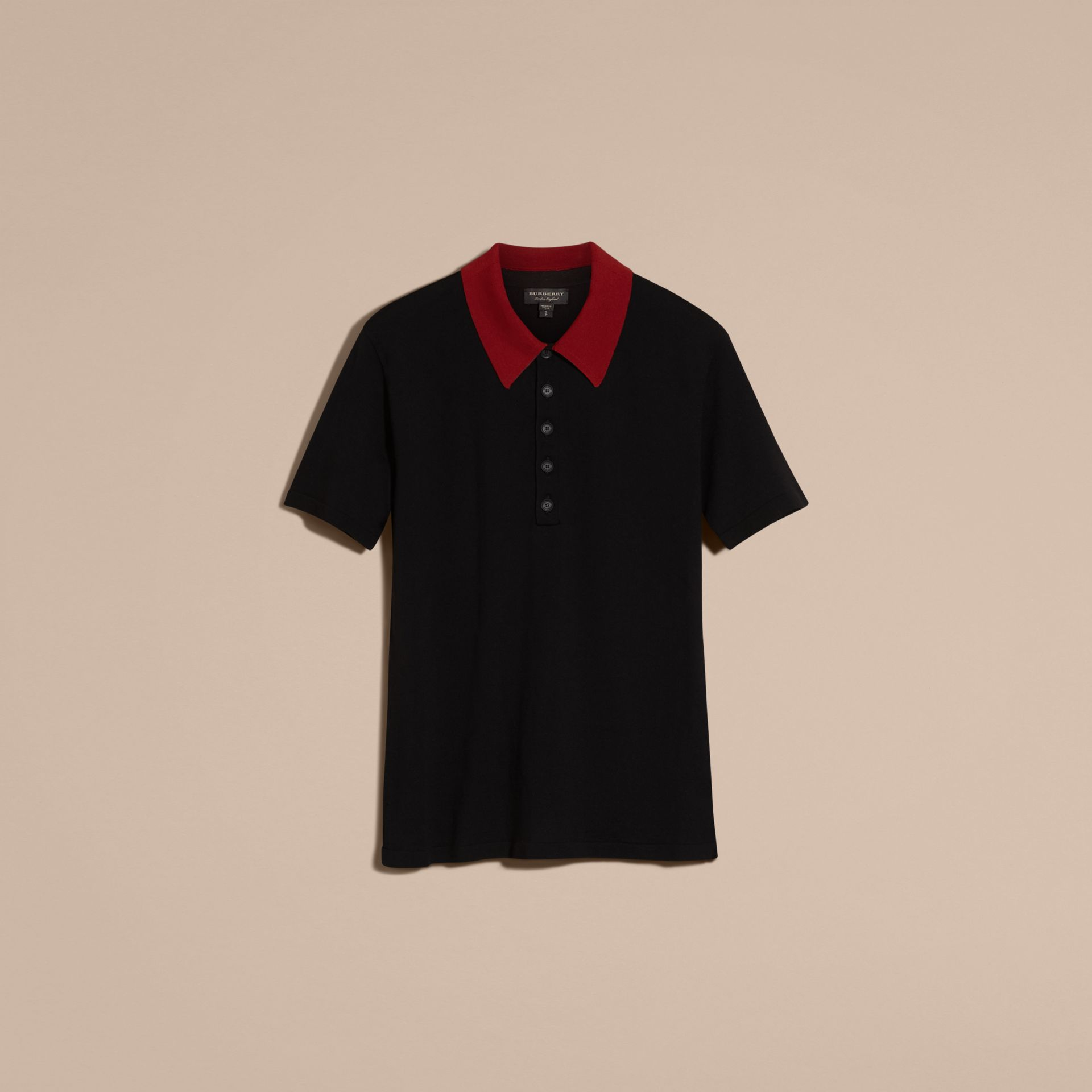 Black/cranberry red Contrast Collar Wool Blend Polo Shirt - gallery image 3