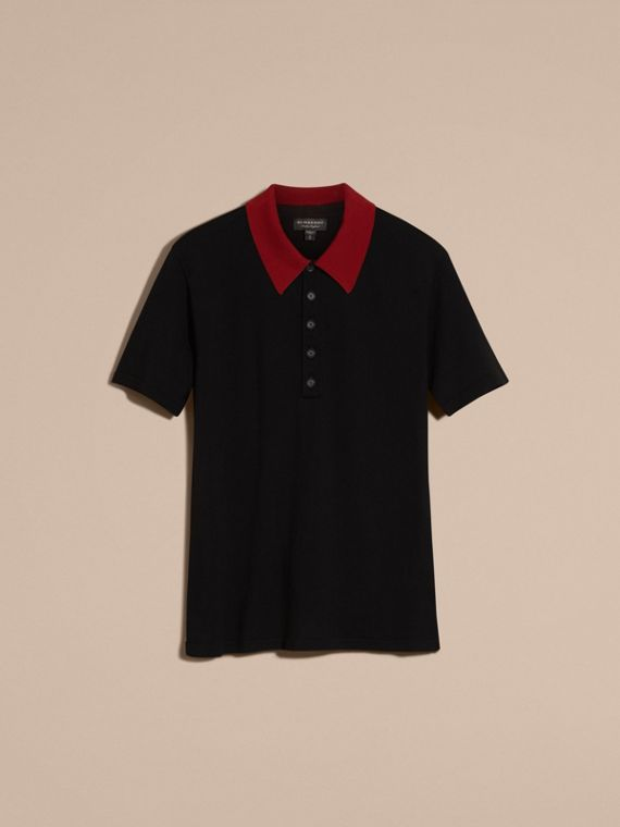 Black/cranberry red Contrast Collar Wool Blend Polo Shirt - cell image 2
